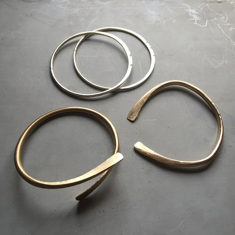 Bronze and sterling bangles