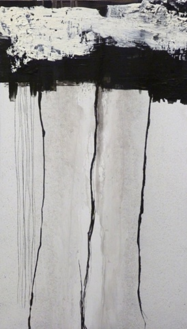 black and white painting of a grid on wood by Jay Hendrick