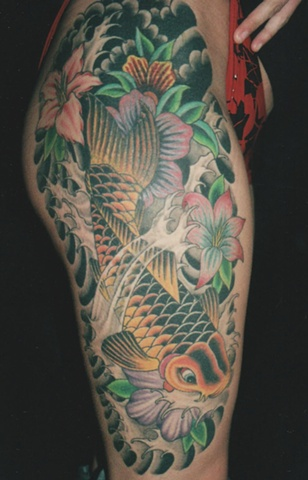 koi fish and flowers
