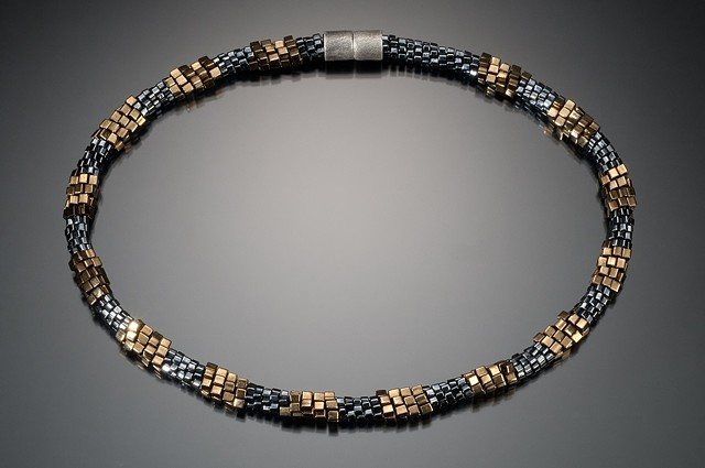 Grey & Gold Bead Cord Necklace