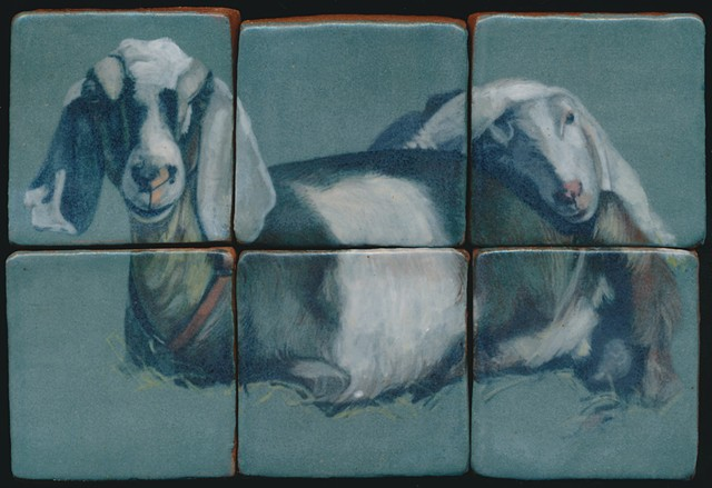 Ceramic handmade tiles, hand painted with underglazes, high-fired, goat portrait by Chantelle Norton.