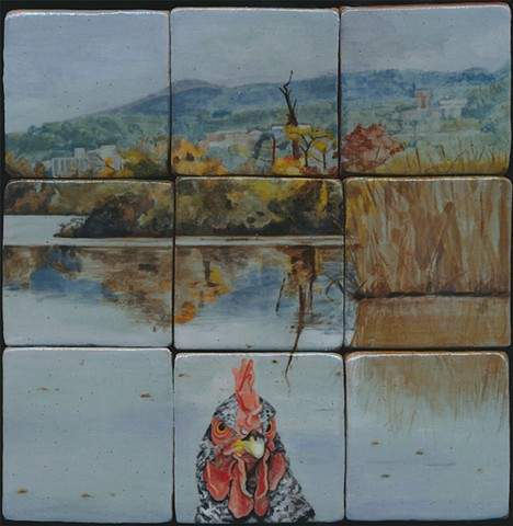 Ceramic handmade tile, hand painted with underglazes, high-fired, chicken portrait in Hudson Valley landscape at Constitution Marsh, by Chantelle Norton.