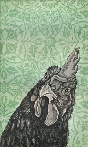 Chicken etching print with ornate background wallpaper aquatint by artist Chantelle Norton.