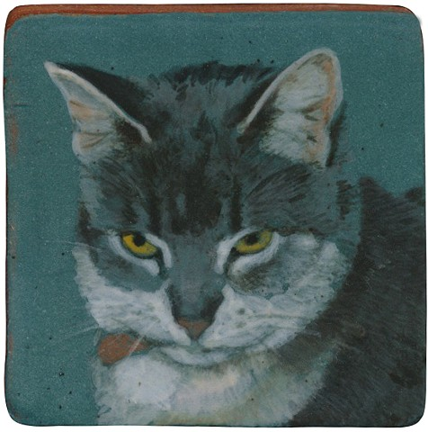 Ceramic handmade tile, hand painted with underglazes, high-fired, cat portrait by Chantelle Norton.