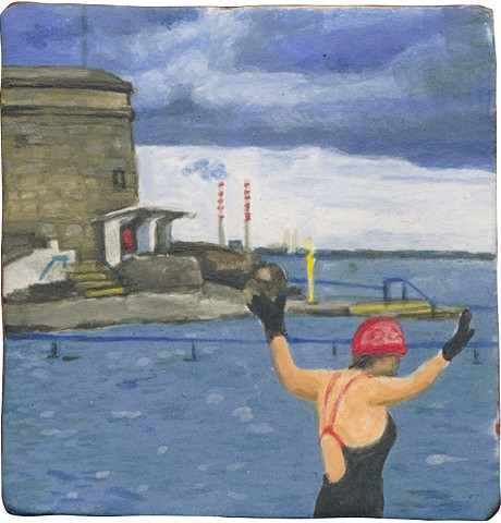 Ceramic handmade tile, hand painted with underglazes, and high-fired. Polar plunge at Seapoint, Dublin by Chantelle Norton.