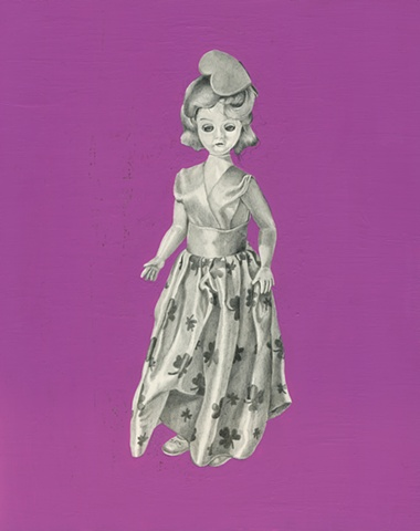 Drawing of toy doll on panel with painted background by Chantelle Norton.