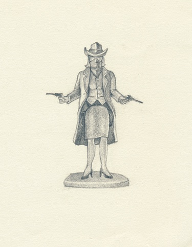 Pencil Drawing of a plastic toy cowgirl with guns by artist Chantelle Norton.