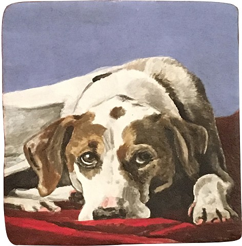 Ceramic handmade tile, hand painted with underglazes, high-fired, dog portrait by Chantelle Norton.