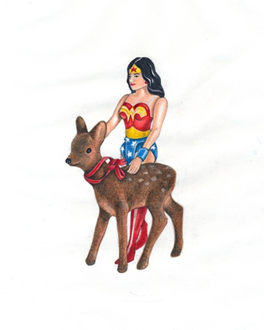 Drawing on paper of toy Wonder Woman with toy deer by Chantelle Norton.