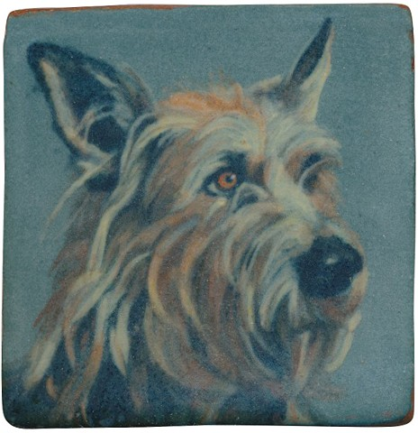 Ceramic handmade tile, hand painted with underglazes, high-fired, Picardy Shepherd portrait by Chantelle Norton.
