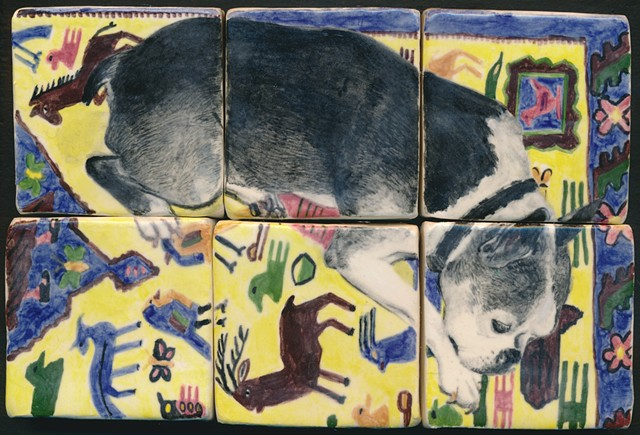 Ceramic handmade tiles, hand painted with underglazes, high-fired, dog portrait of a Boston Terrier on patterned rug by Chantelle Norton.