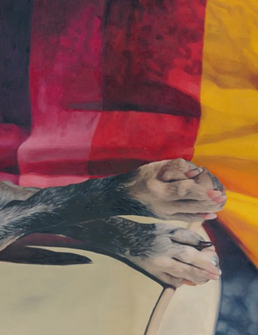 Oil painting of dog paws by Chantelle Norton.