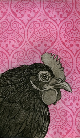 Chicken etching print with aquatint pattern design background by artist Chantelle Norton.