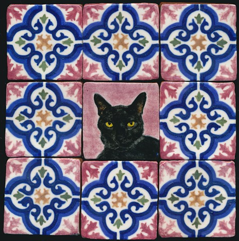 Ceramic handmade tiles, hand painted with underglazes, high fired, cat portrait with pattern tile border by Chantelle Norton.