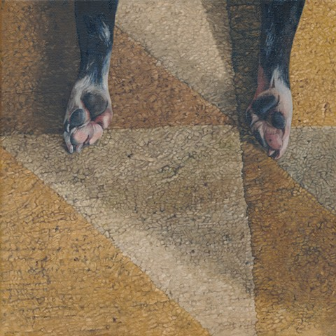 Oil painting of dog paws on a Tufenkian carpet by Chantelle Norton.