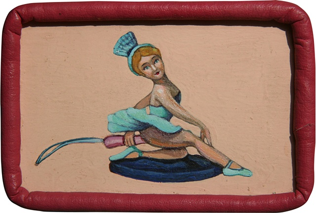 Acrylic painting on panel of a toy ballerina by artist Chantelle Norton.
