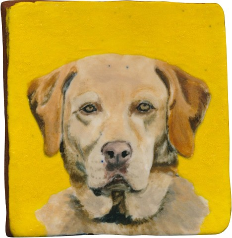Ceramic handmade tile, hand painted with underglazes, high-fired, dog portrait of a Labrador Retriever by Chantelle Norton.