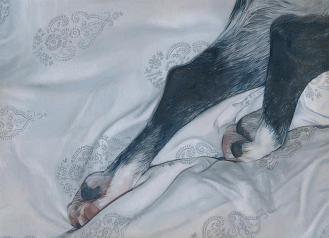 Oil painting of dog paws on patterned sheet by Chantelle Norton.