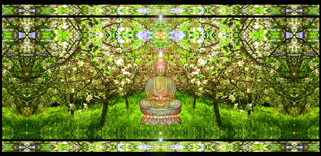 buddha orchard, apple blossoms in spring, compassion for all beings, altar art