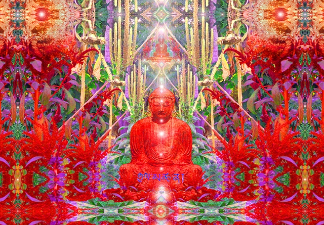 multidimensional buddha in red garden temple of amaranth, sunflower stalks and mullein with Tibetan Banner of Victory