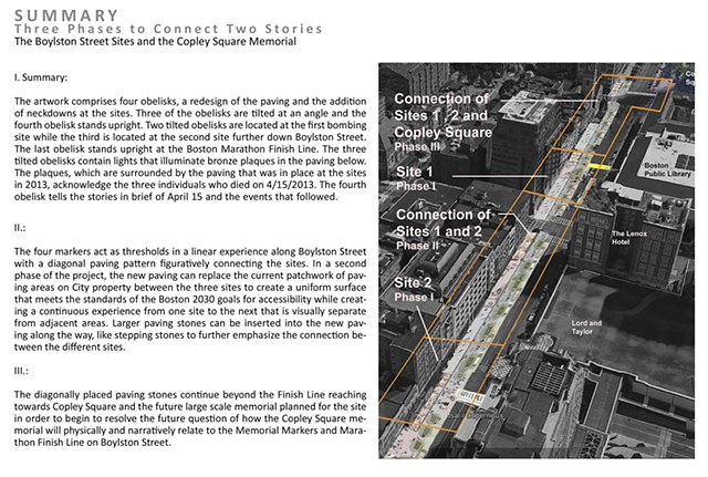 Boston Marathon Bombings Memorial Markers Proposal, rendering by Jeremy Angier/ A+J Art+Design