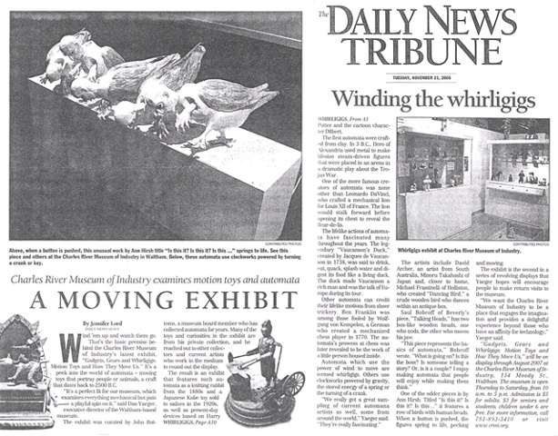 "The Daily News Tribune ""A Moving Exhibit""  by Jennifer Lord November 21, 2006"
