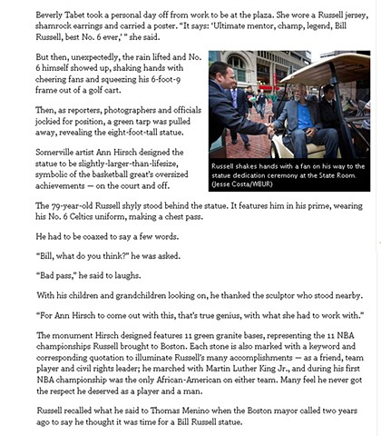"""Bill Russell Statue Unveiled at Boston City Hall"" by Bruce Gellerman for 90.9 WBUR November 1, 2013 Page 2"