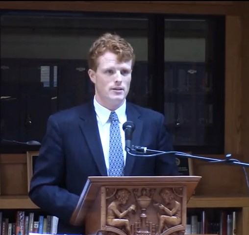 Congressman Joe Kennedy III speaks at Boston Latin School for the Unveiling Ceremony of the Portrait of the Honorable Mark L. Wolf