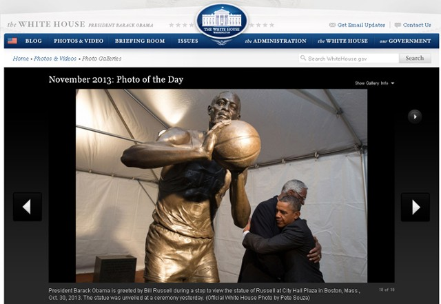 President Barack Obama and Bill Russell with the Bill Russell Sculpture Official White House Photo by Peter Souza