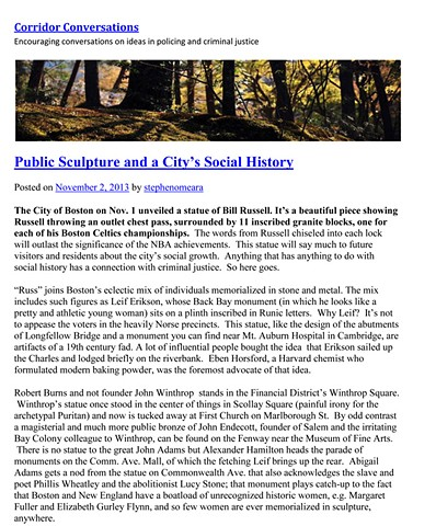 """Public Sculpture and a City's Social History"" by Stephen O'Meara for Corridor Conversations November 2, 2013"