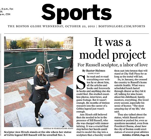 """A Labor of Love for Russell Sculptor"" by Baxter Holmes for the Boston Globe October 23, 2013 Page 1"