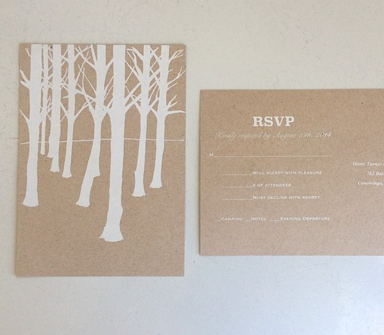 custom designed wedding rsvp postcard.