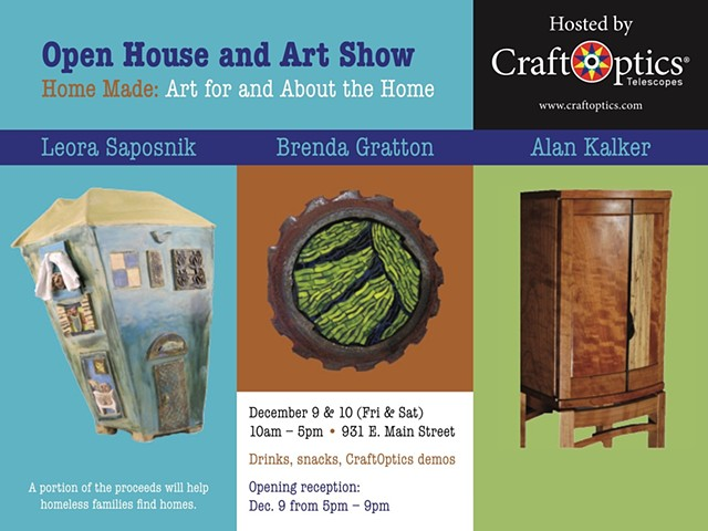 New Show! Home Made.Come and have a nibble, a drink, support local art --and your purchase will go to help families who are homeless find a home.