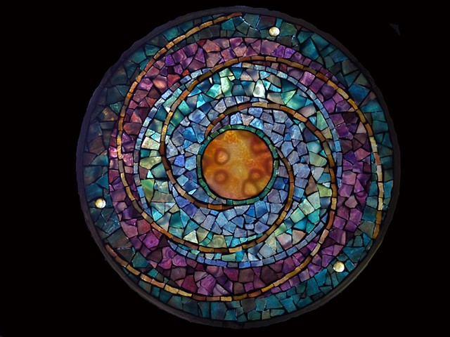 Stained Glass Mosaic Mandala Planet by David Chidgey