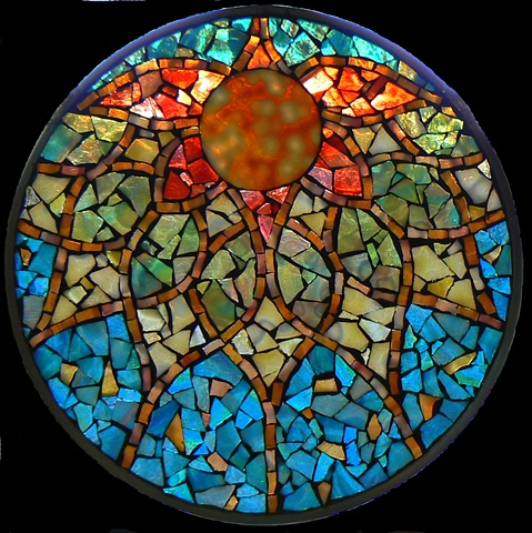 Stained Glass Mosaic Mandala Autumn Moon by David Chidgey