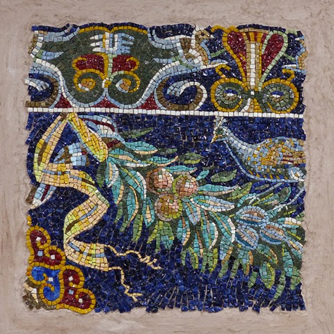 "Herculaneum Tapestry  Mosaic made with Mexican smalti 18"" x 18"""