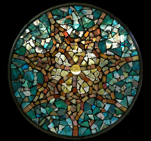 Stained Glass Mosaic Mandala Sunset Star by David Chidgey