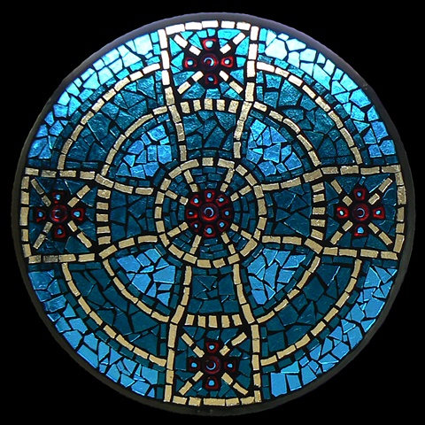 Stained Glass Mosaic Mandala Celtic Cross by David Chidgey