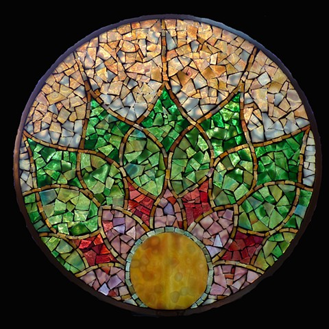 Sacred Moon Stained Glass Mosaic 13.25 diameter