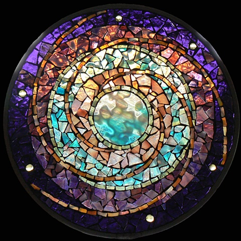 Stained Glass Mosaic Mandala Water Planet by David Chidgey