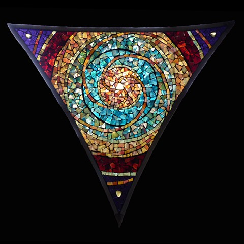 Stained glass mosaic, mandala, art glass,