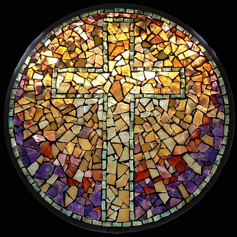 Stained Glass Mosaic Mandala Resurrection Cross by David Chidgey