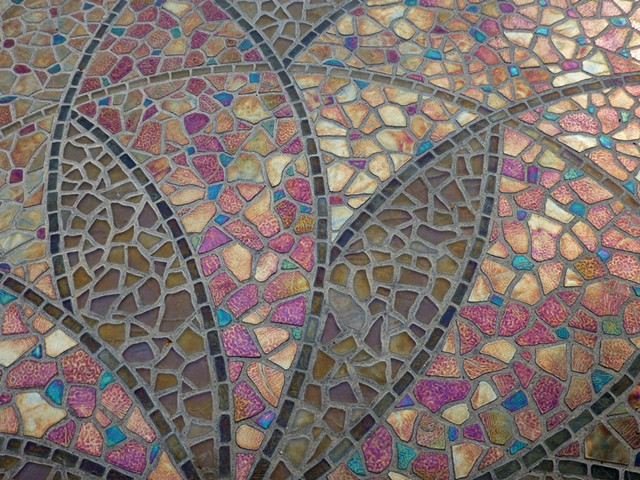 Garden Mosaic, Iridescent, Glass Tile, Mosaic, Floral, Sacred Geometry