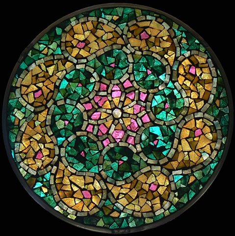 Stained Glass Mosaic Mandala Pearl Star by David Chidgey