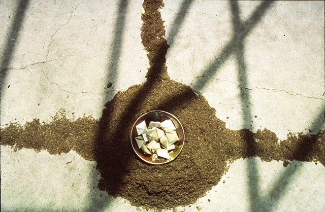 Center of Installation with Soil, Ceramics, Embossed Packets with Seeds.