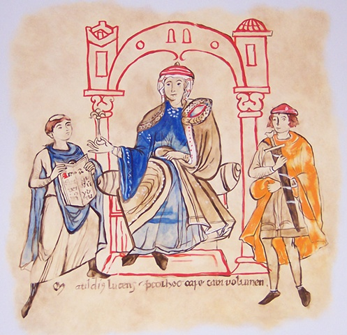 "Frassinoro Castle (Castello di Frassinoro) ,  Monk Donizone presents the Manuscript, ""The Life of Mathilde of Canossa"" to Matilde  (Monaco Donizone presenta la Vita Mathildis alla Contessa Mathilde di Canossa)"