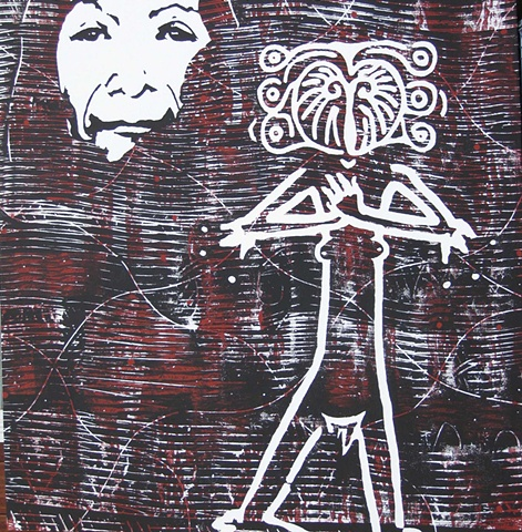 Original contemporary painting on canvas of a face and a female mythological figure by Mark Sirdevan.