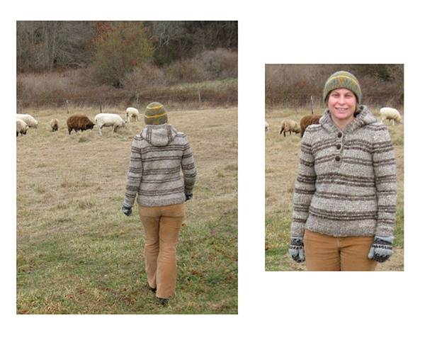 a hand knit sweater made from the wool of one sheep from Peterson Farm on in Falmouth, MA