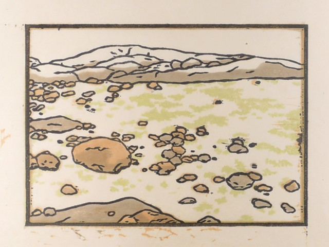 Japanese woodcut print of a remote, rocky, foggy beach at low tide on Wass Island Preserve in Maine