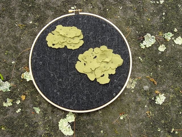 appliqued and embroidered wool lichen wall art made from wool suits and displayed in an embroidery hoop
